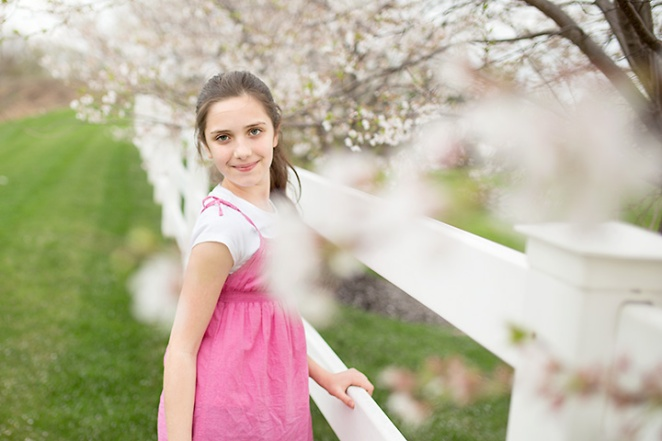 girl with blosoming tree - columbus ohio
