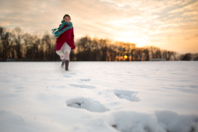 Heather Arnita Photography - girl in red on snow