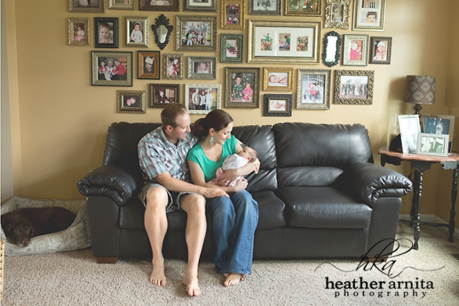 family lifestyle session mom dad oc couch with baby