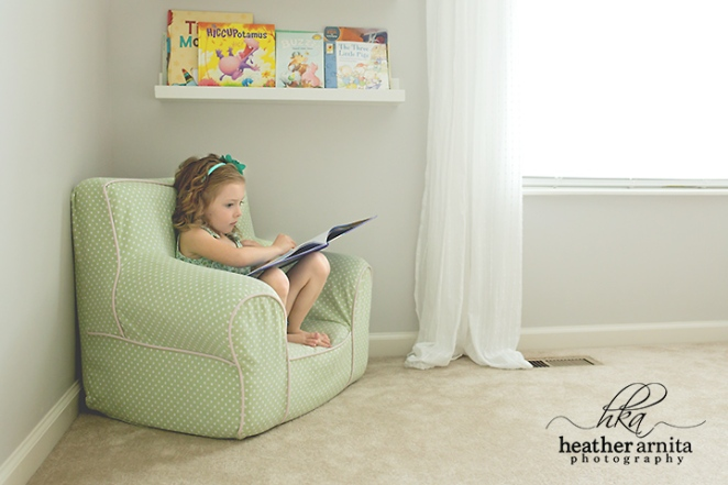 girl reading on cute chair