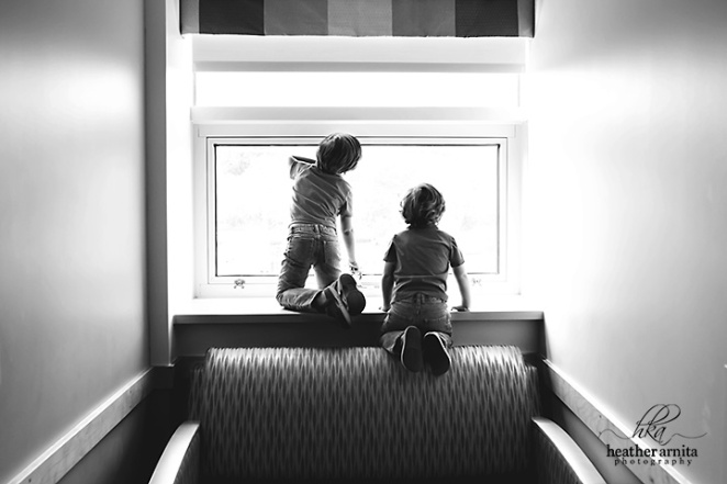Heather Arnita Photography Fresh 48 session big brothers looking out window dramatic black and white