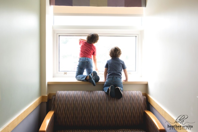 Heather Arnita Photography Fresh 48 session Brothers looking out the window